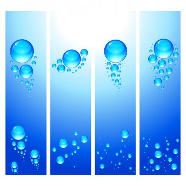 Eps Set of vertical banners with water bubbles.