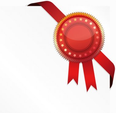 Vector corner ribbon and quality certificate