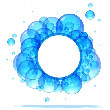 Banner of the beautiful transparent blue bubbles. With a place for your text. clip art vector