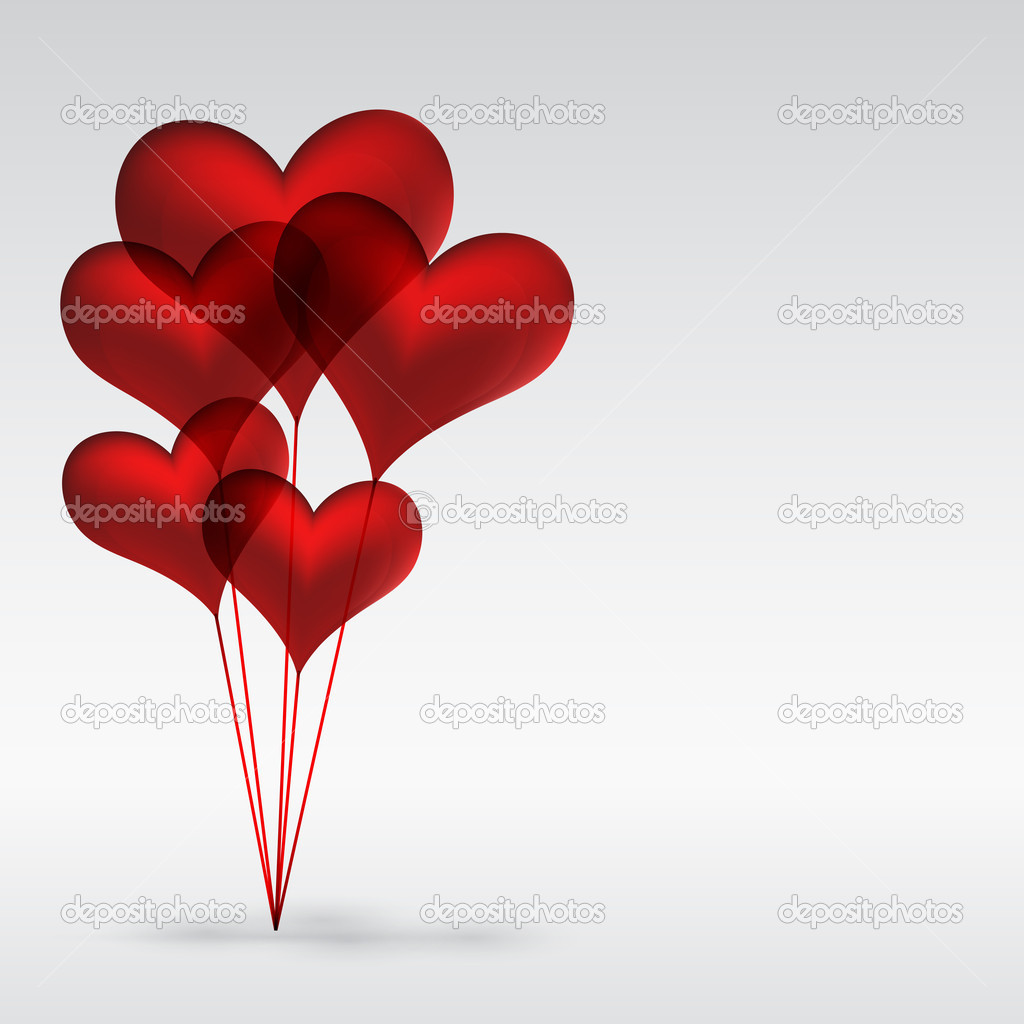 Eps10 Copula of red gel balloons in the shape of a heart