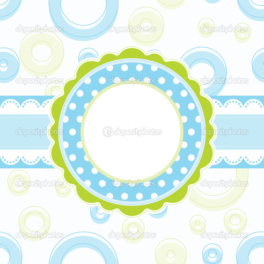 Baby boy arrival announcement card, vector