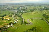 Fotografie ukrajinské vesnice - letecký pohled