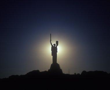 Kyiv's landmark: steel statue to Motherland. Ukraine.