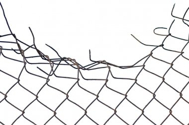 Grynge aged crushed rusty wire security fence isolated