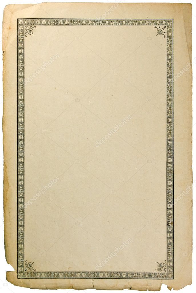 Old grungy book paper sheet page with vignette isolated for Vintage book paper