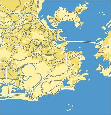 Vector illustration map of Rio de Janeiro
