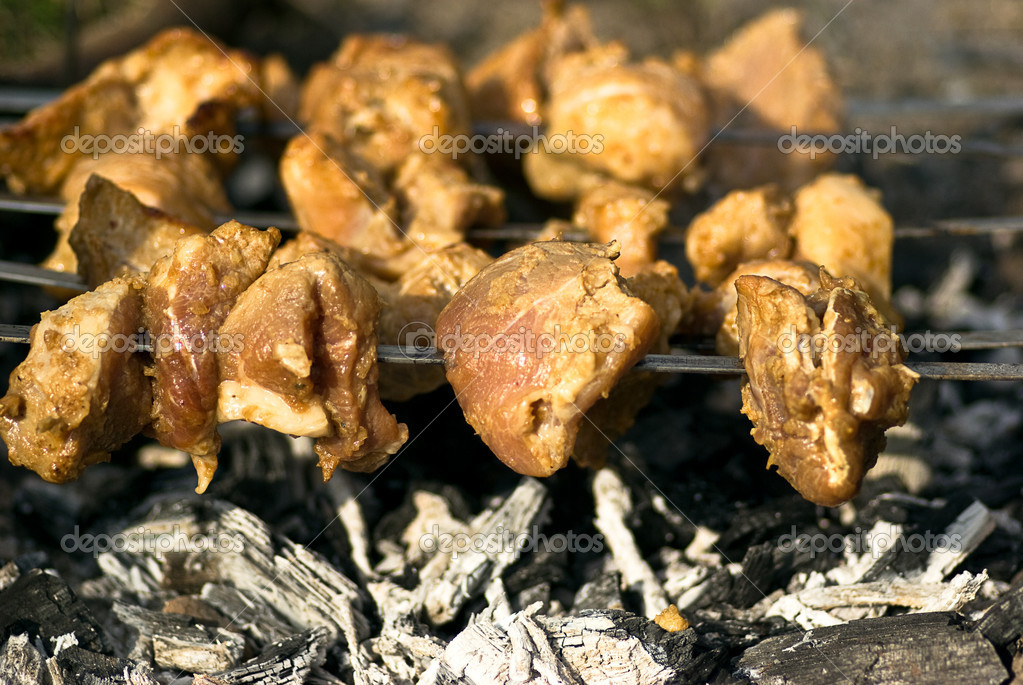 Barbeque on grill