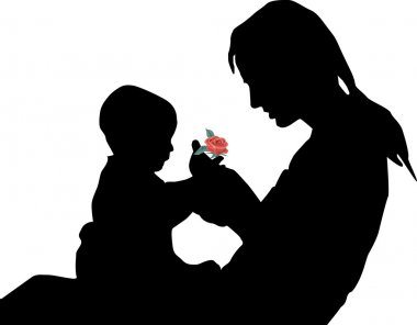 Silhouette of mother and the child with a rose in hands stock vector