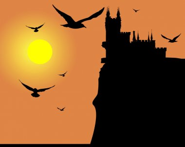Silhouette a swallow's nest in Crimea