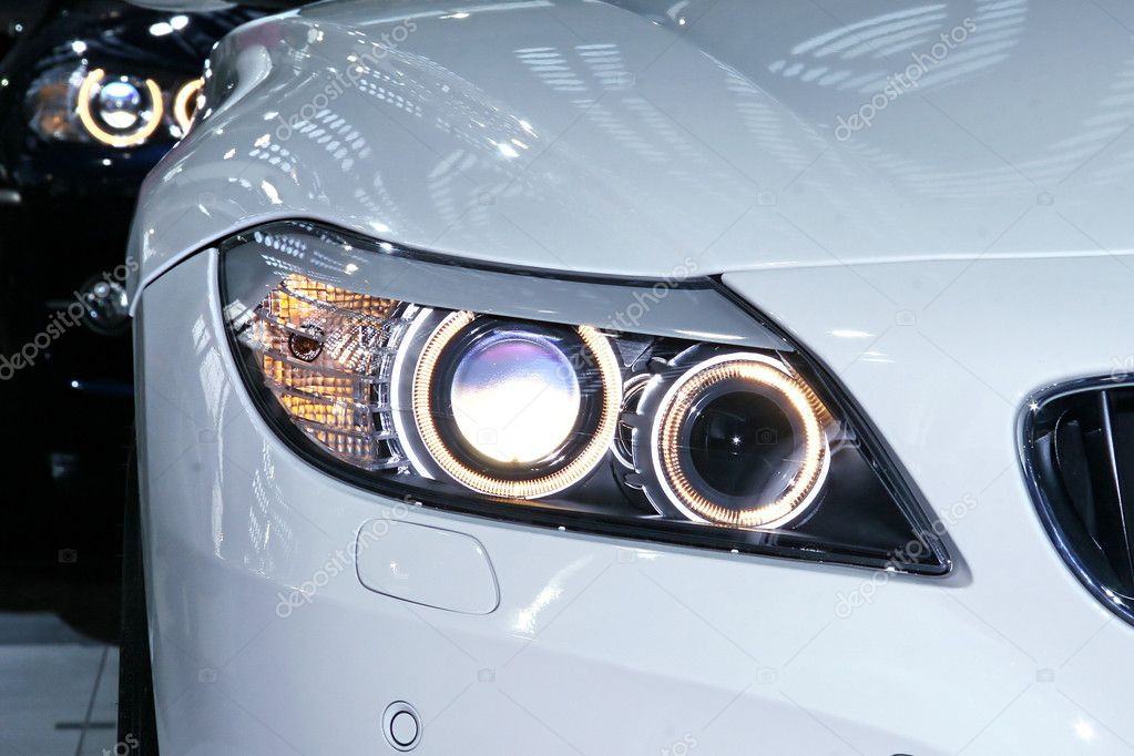White and black car headlights