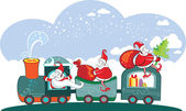 Happy 3 Santa Claus on the train with bags.