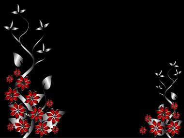 A silver and red floral background