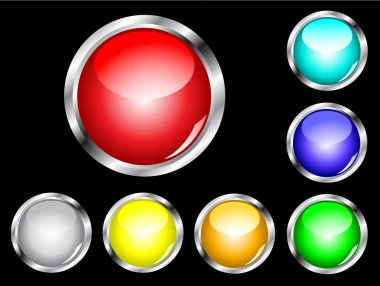 A set of seven glossy web buttons