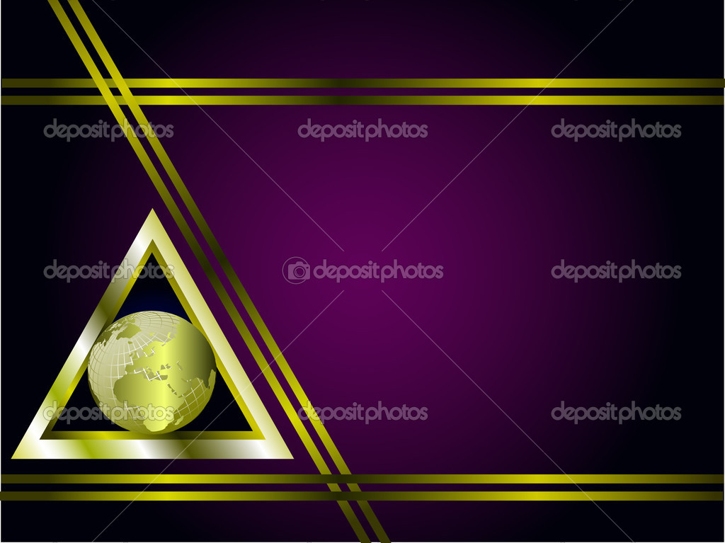 A gold and purple business card stock vector mhprice 3096047 a gold and purple business card template with a gold globe in a triangle vector by mhprice colourmoves
