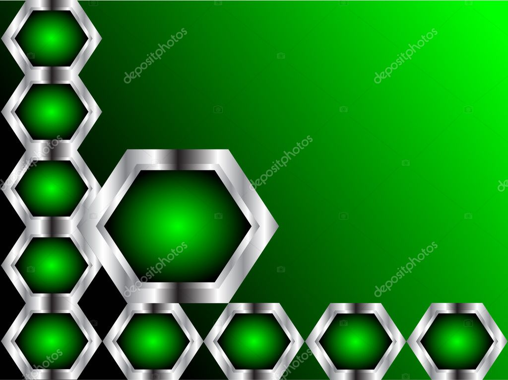 A green and silver business card stock vector mhprice 3109485 a green and silver business card or background template with silver hexagons on a black base vector by mhprice reheart Gallery