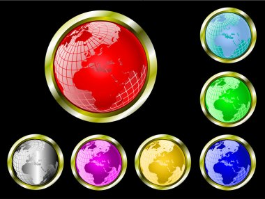 A set vector wire globe web buttons