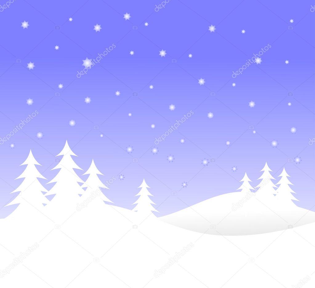 雪の白い木と冬ベクトル背景イラスト — ストックベクター © mhprice #3740220