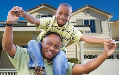 African American Father and Son, Home