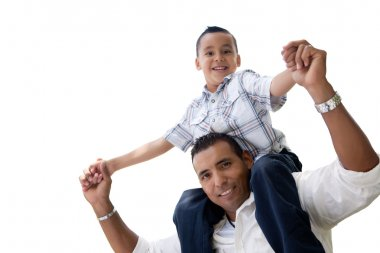 Hispanic Father and Son Isolated