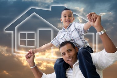 Hispanic Father and Son Over Sky, House