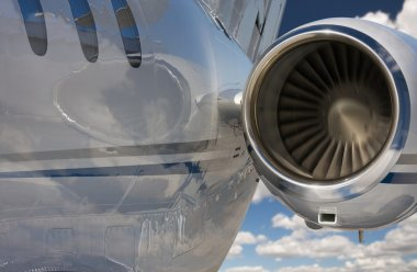 Private Jet and Engine Abstract on Sky