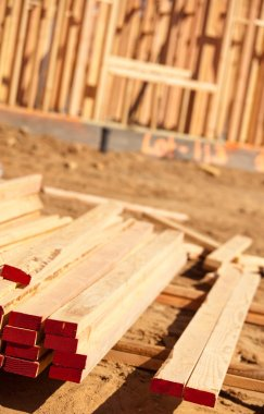 Stack of Building Lumber at Construction