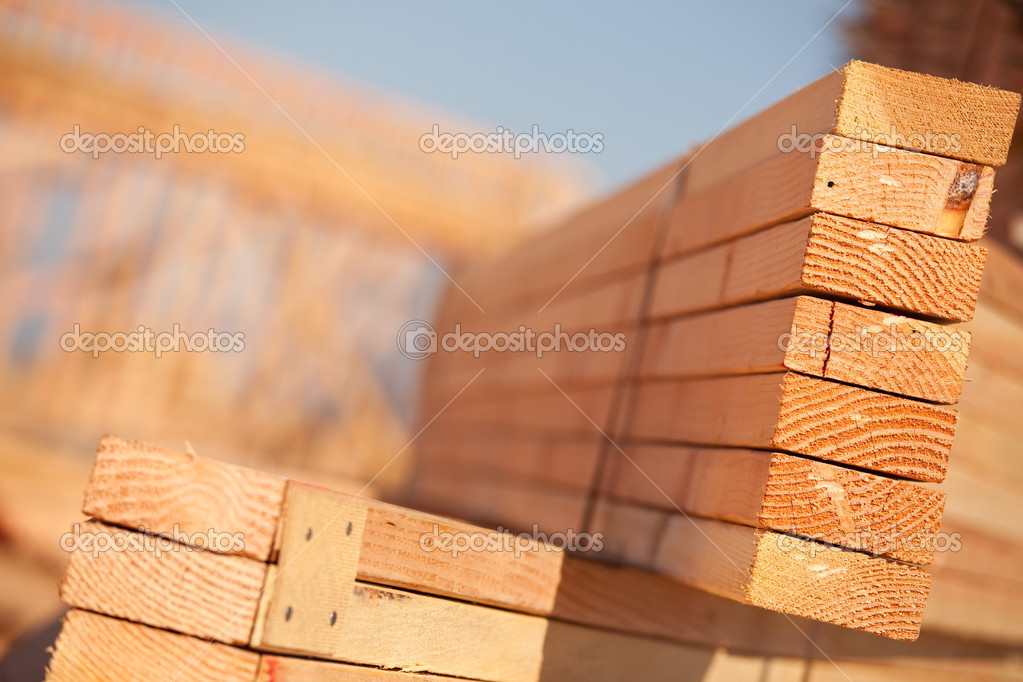 Stack of Building Lumber at Construction Site