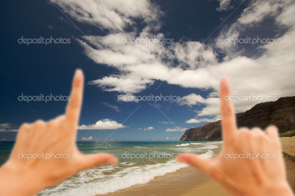 Hands Framing Polihale Beach on Beach