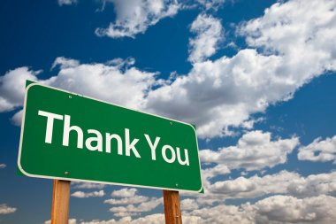 Thank You Green Road Sign with Copy Room