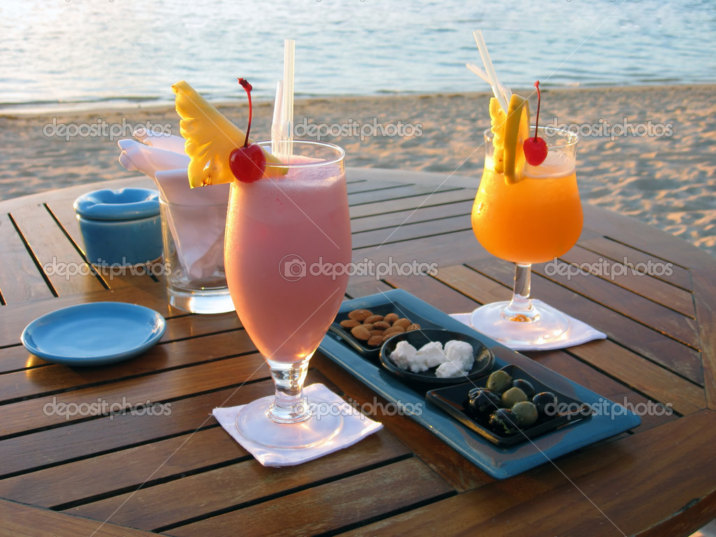 Cocktail by the beach in Mauritius
