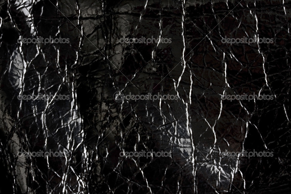 Texture of shiny black leather — Stock