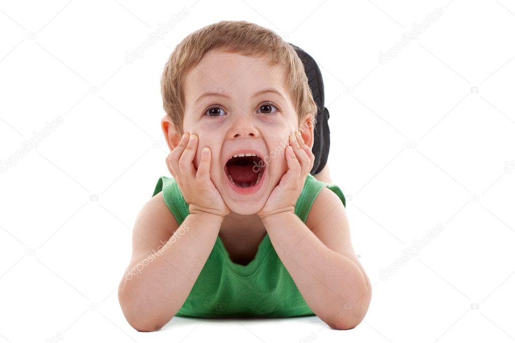 Happy kid play on floor