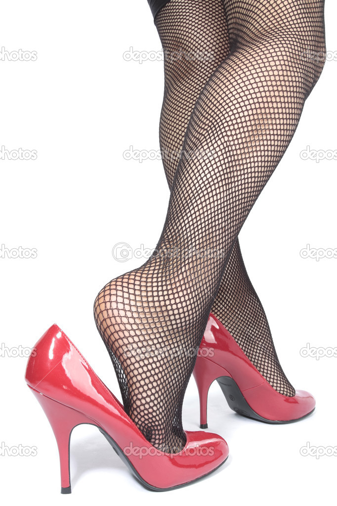 b4cafbdb2df Beautiful woman legs tights with red heels over white — Stock Photo ...