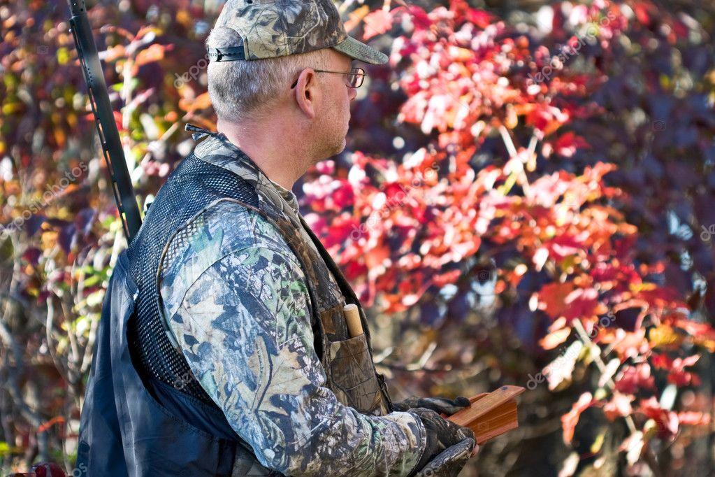 Turkey hunter with box call