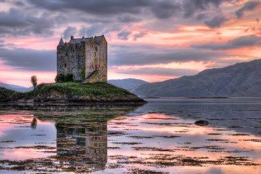 Stalker castle, Highlands, Scotland, seen at dusk stock vector