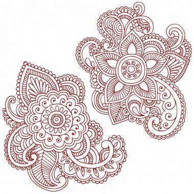 Henna Mehndi Pasiley Mandala Flower Doodles Vector
