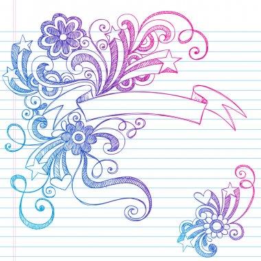 Banner Scroll Sketchy Doodles Vector Illustration Design