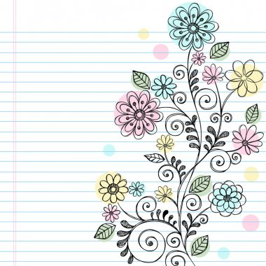 Flowers and Vines Sketchy Doodle Vector