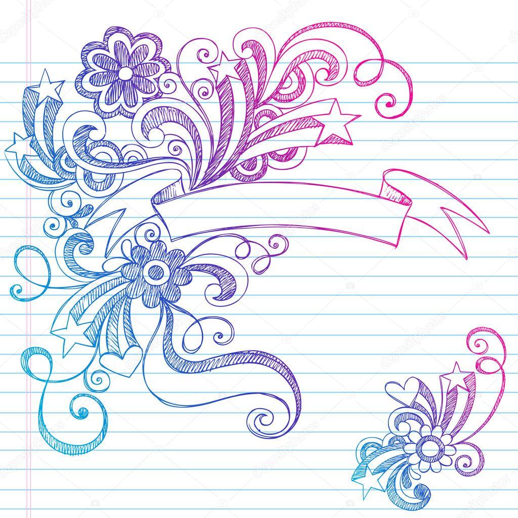 Banner scroll sketchy doodles vector illustration design for Paginas decoradas