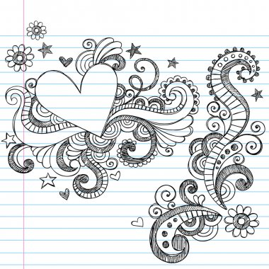 Hand-Drawn Sketchy Heart and Swirls Doodles Design Elements with Flowers, Hearts, and Stars on Lined Notebook Paper Background- Vector Illustration clip art vector