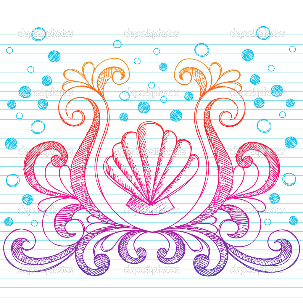 Shell And Scroll Sketchy Notebook Doodle Stock Vector