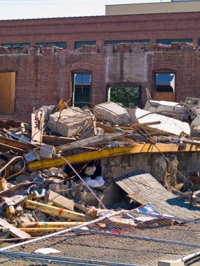A demolition site with a pile of demolished bric