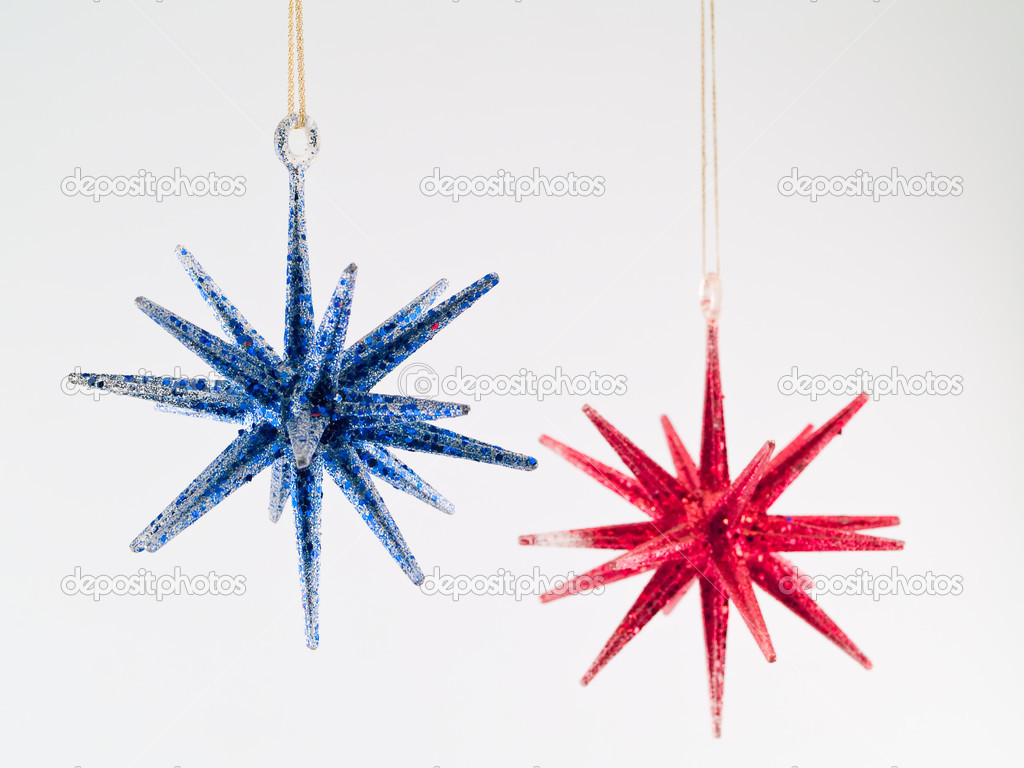 Blue And Red Christmas Tree Star Ornaments — Photo By Frankljunior