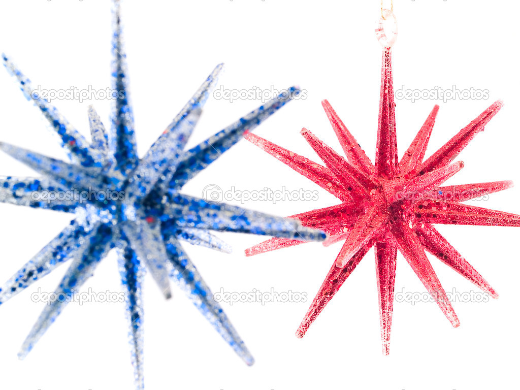 Blue And Red Christmas Tree Star Ornaments – Stock Image