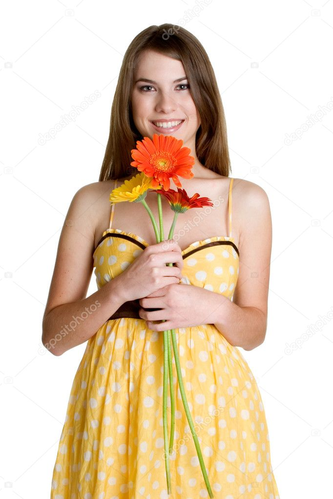 Girl Holding Flowers — Stock Photo © keeweeboy #3186709