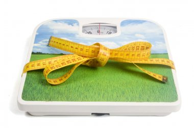 Weight scale with a measure tape