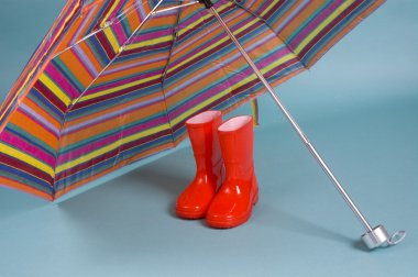 Red children rain boots