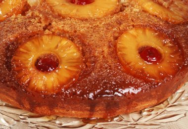 Macro pineapple upside down cake