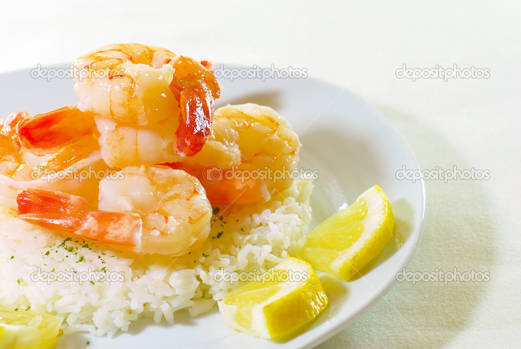 Shrimp on rice
