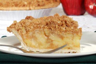 Macro apple crumble pie